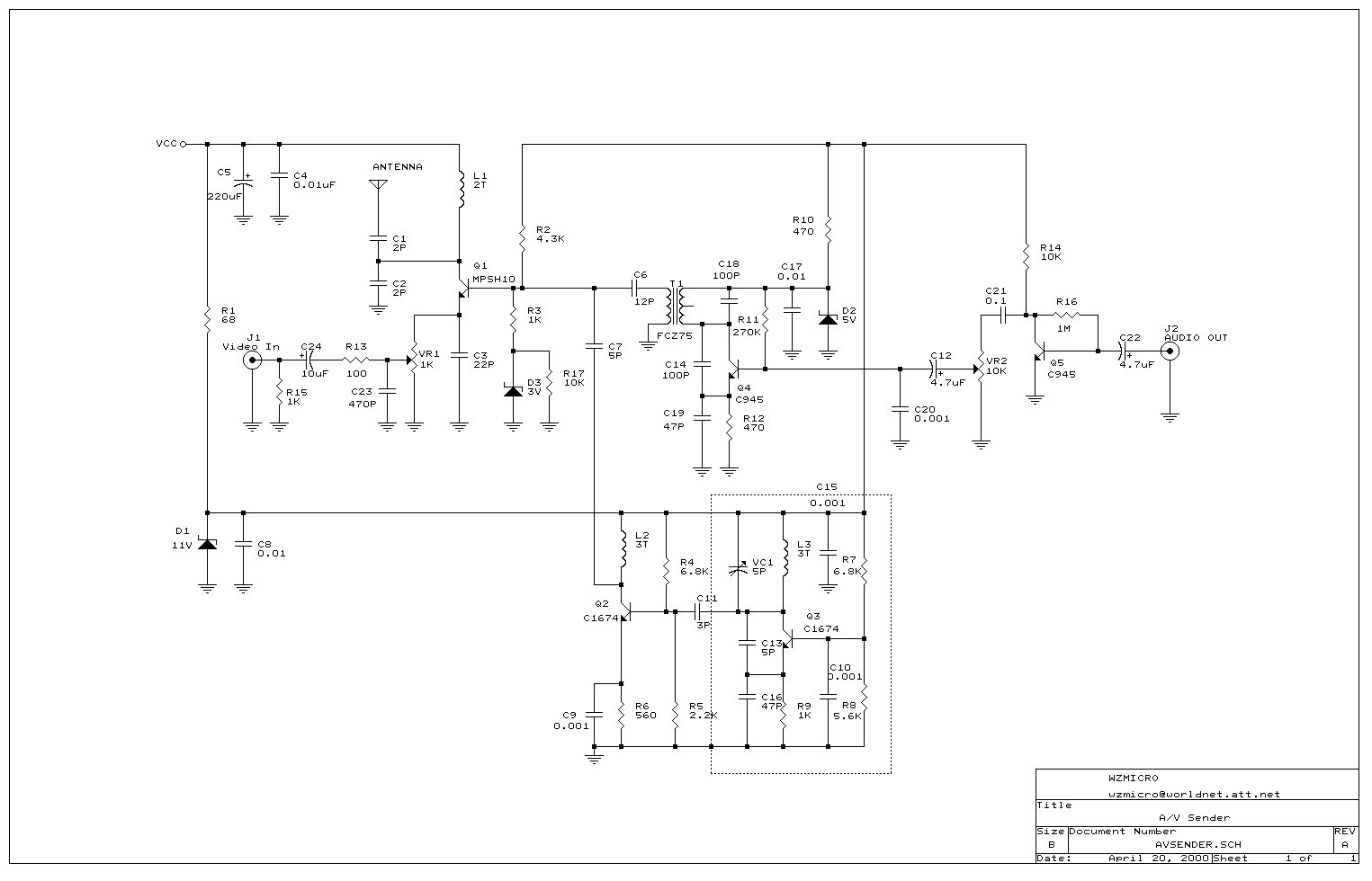 Schematic For Vcr Wiring Diagram Professional Block Hpdeskjet1220c Wireless Video Transmitter Crest Cre 55471 Crosley Cr73